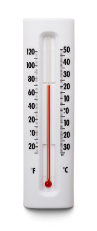 temperatures: Weather Themometer Isolated on White Background.