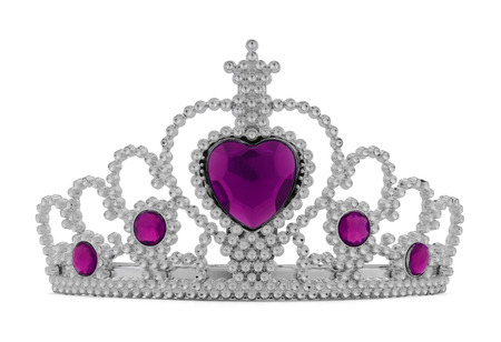Girls Silver Tiara Crown with Pink Heart Isolated on White Background.