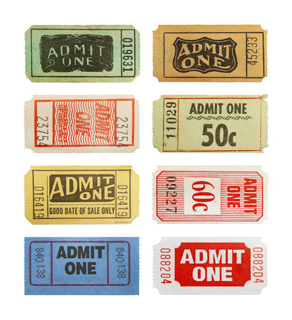admit one: Selection Of Differnet Old Admit One Tickets Isolated on White Background.