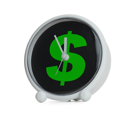 12 o'clock: Clock with Green Money Dollar Symbol Isolated on White Background.