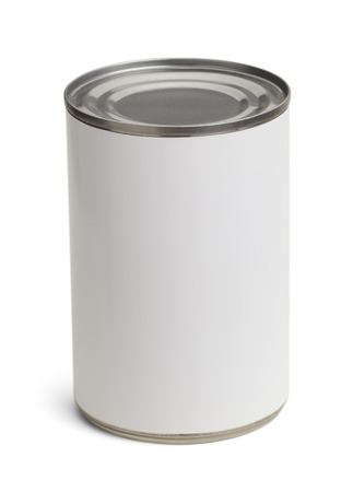 Generic Tin Can with Copy Space Isolated on a White Background. Stock Photo