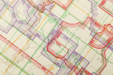 zoned: Geometric Multi Colored Zoned Topogrphical Map Segment. Stock Photo