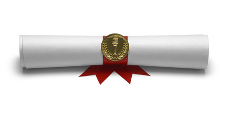 masters degree: Diploma with Red Ribbon and Torch Seal Front View Isolated on White Background.