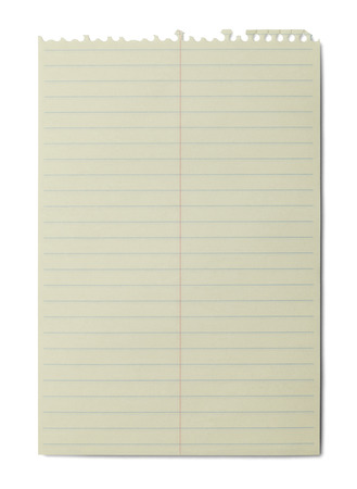 Yellow Line Spiral Notbook Paper Isolated on White Background. photo