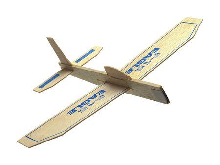 balsa: Balsa Wood Toy Plane Flying Isolated on White Background.