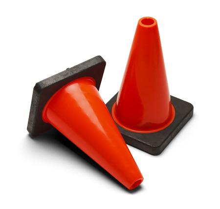 Orange Road Caution Cones Isolated on White Background. Stock Photo