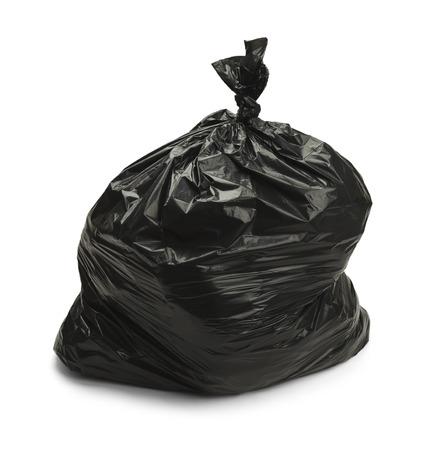 black plastic garbage bag: Full Black Bag of Garbage Isolated on White Background.
