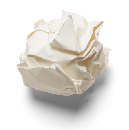 mental object: Pedazo de papel destrozado y aislado en un fondo blanco. Foto de archivo