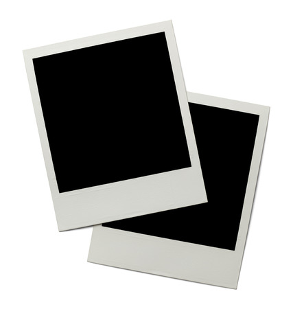 instant film transfer: Two Retro Polaroid Photographs Isolated on White Background.