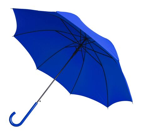 Bright Blue Umbrella Tilted  Isolated on White Background. Archivio Fotografico