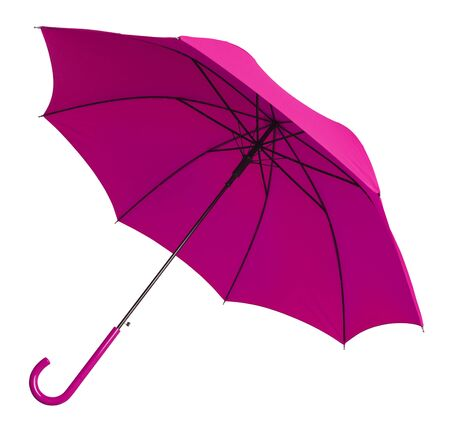 tilted view: Bright Pink Umbrella Tilted  View Isolated on White Background.