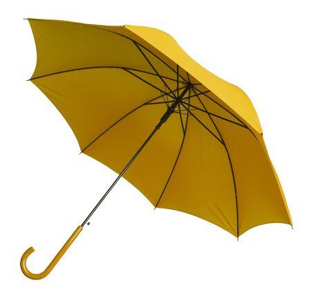 yellow umbrella: Bright Yellow Umbrella Tilted Isolated on White Background.