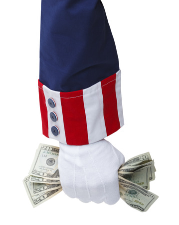 sam: Red White and Blue Uncle Sam Suit with Hand Grabbing Cash.