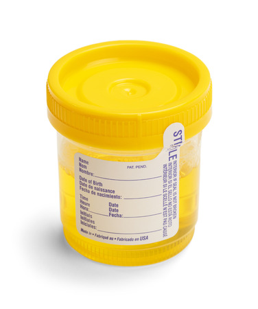 Urine Test Cup with Broken Seal and Blank Label. Isolated on White Background.