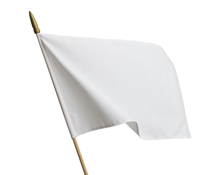 Blank White Flag Blowing in Wind Isolated on White Background. Stock Photo