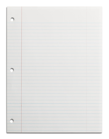 Blank School Line Paper with Copy Space Isolated on White Background. photo