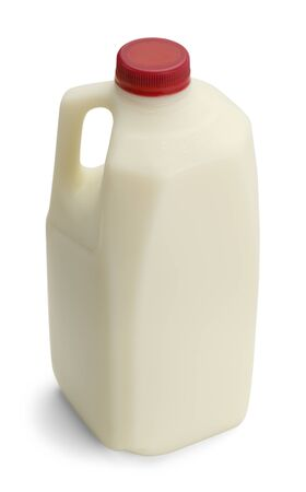 Half Gallon of Milk with Red Cap Isolated on White Background.
