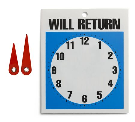 Custom Will Return Sign with Parts Isolated on White Background. photo