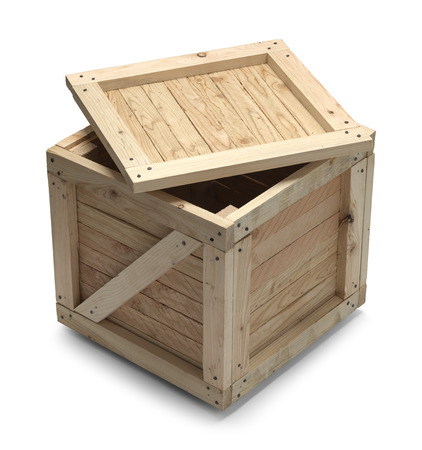 Wooden Crate With Lid Open Isolated on White Background. Standard-Bild