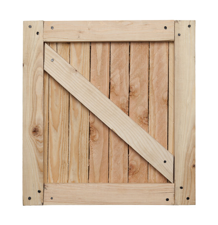 Side of Wood Crate with Copy Space Isolated on White Background.