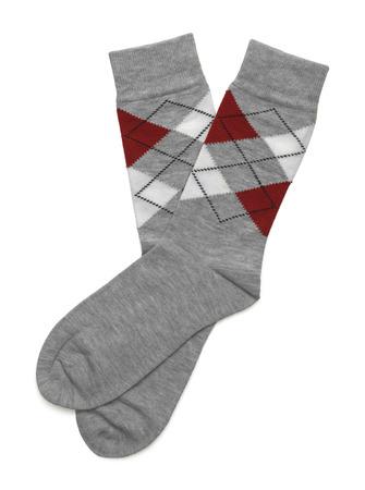 scotish: Pair of Scotish Checkerd Wool Socks Isolated on White Background. Stock Photo