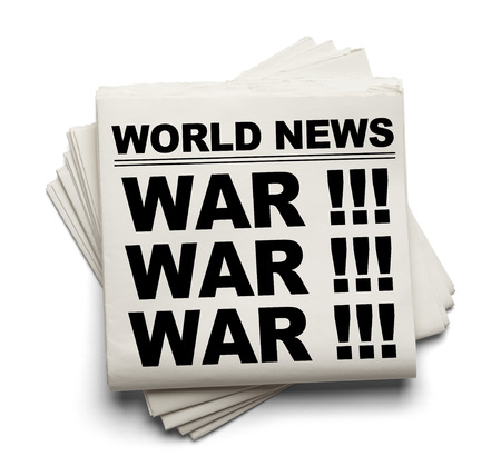 World News Paper Headline War Isolated on White Background. Stock Photo