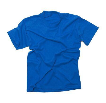 v neck: Blue Shirt with Wrinkles Isolated on White Background. Stock Photo