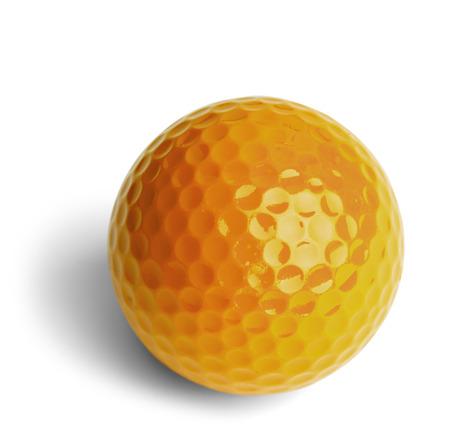 golf  ball: Miniatura Amarillo pelota de golf Aislado En Fondo Blanco.
