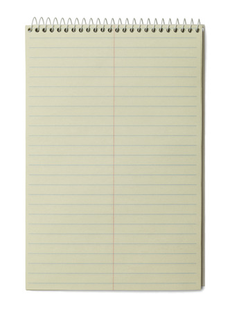 Lined Yellow Paper Pad Isolated on White Background. photo