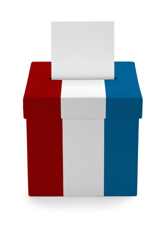 secrecy of voting: American Voting Box Isolated on White Background.