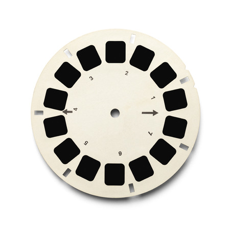 Round View Master Photo Slide with Copy Space Isolated on White Background.