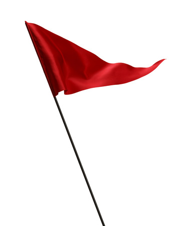 Red Flag Waving in the Wind on Pole Isolated on White Background. Imagens