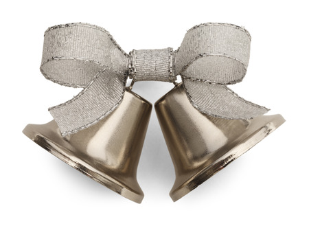 Silver Bells and Ribbon Isolated on White Background.
