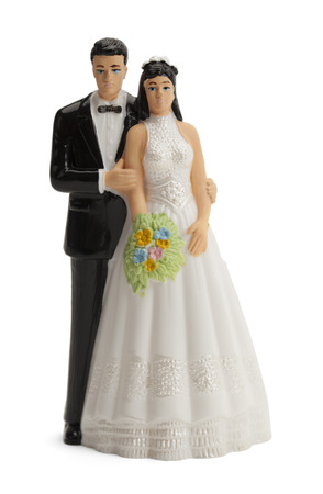 wedding ceremony: Wedding Cake Topper Isolated on White Background. Stock Photo