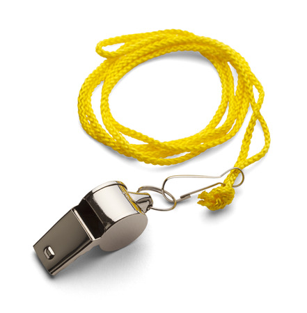 coach sport: Classic Coaches Whistle, Crome With Yellow Cord on Isolated White Background. Stock Photo