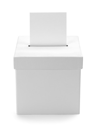 secrecy of voting: Cardboard White Ballot Box with Copy Space Isolated on White Background. Stock Photo