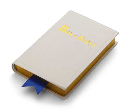 White and Gold Bible with Blue Book Mark Isolated On White Background.