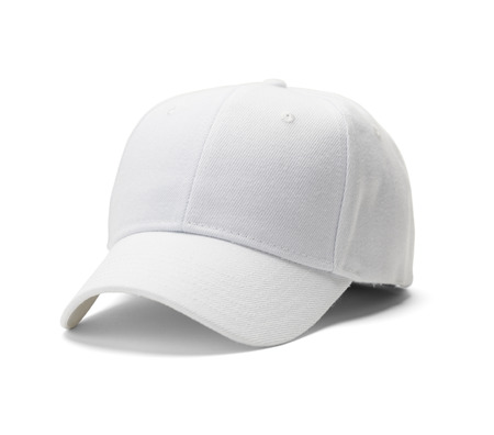 blanco: Blanca Sombrero de béisbol aisladas sobre fondo blanco.
