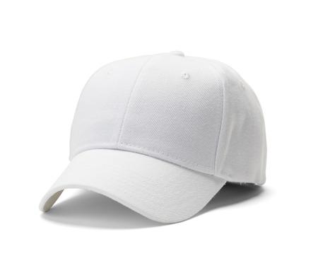 White Baseball Hat Isolated on White Background.