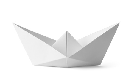 Origami White Paper Boat Isolated on White Background.