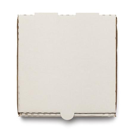 Cartón Caja de pizza con copia espacio aislado en el fondo blanco.