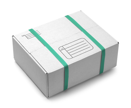 White Cardboard Shipping Box With Green Plastic Straps Isolated on White Background. photo