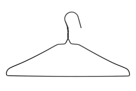 Thin Black WIre Clothes Hanger Isolated on White Background.