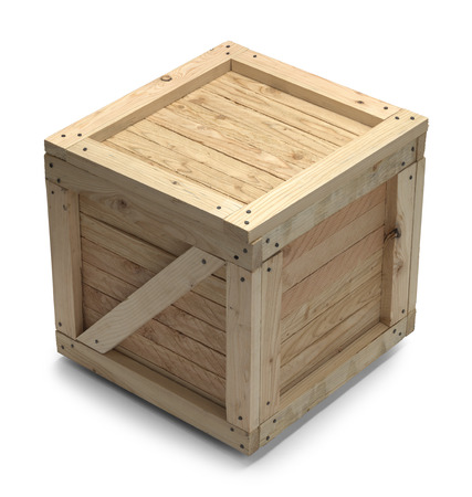 Wooden Shipping Crate With Copy Space Isolated on White Background. photo