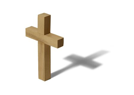dogma: Wooden Cross Isolated on White Background. Stock Photo