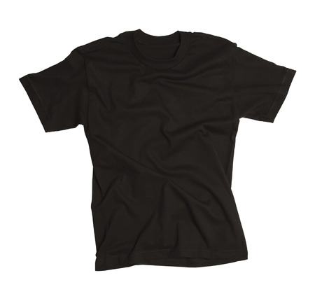 sleeved: Tshirt with Wrinkles Isolated on White Background.