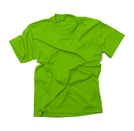 short sleeved: Green Shirt with Wrinkles Isolated on White Background.