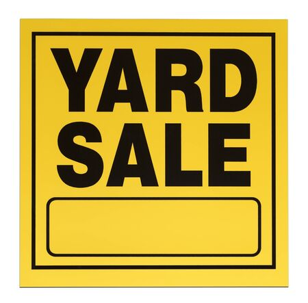 yard sign: Yellow and black yard sale sign with copy space isolated on a white background.