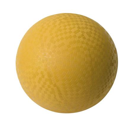 白い背景に分離された黄色のゴム製ボール。 写真素材