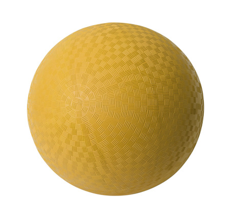 kickball: Yellow Rubber Ball Isolated on White Background. Stock Photo